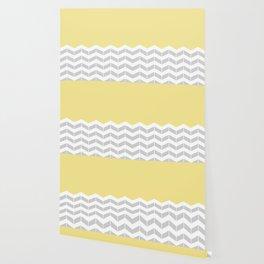 Grey, White & Yellow Half Chevron Wallpaper