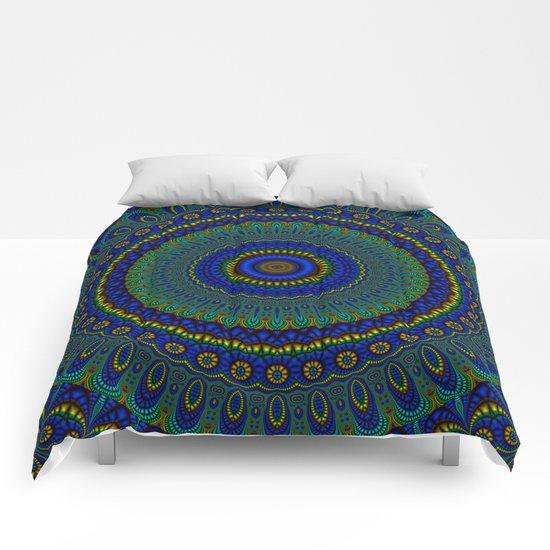blue yellow mandala Comforters