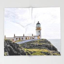 Lighthouse at Neast Point, Isle of Skye, Scotland Throw Blanket