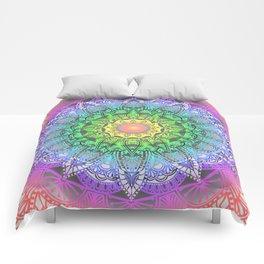 Rainbow Flower Mandala Comforters