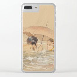 Male and Female Bathers with Umbrella Clear iPhone Case