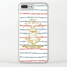 Maritime Design- Nautic Vintage Anchor on stripes in blue and red Clear iPhone Case