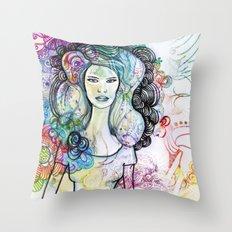 doodle girl Throw Pillow