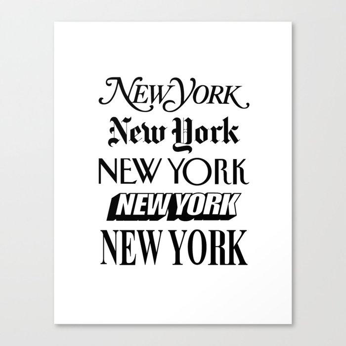 I Heart New York City Black and White New York Poster I Love NYC Design black-white home wall decor Canvas Print