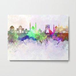 Tehran skyline in watercolor background Metal Print
