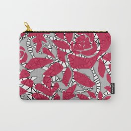 Red grey lace lace Carry-All Pouch