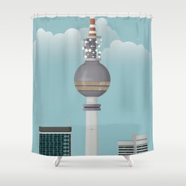 Berlin | Retro Travel Poster Shower Curtain