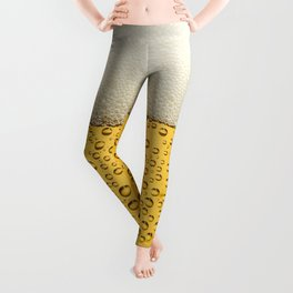 Funny Bubbles Beer Glass Gold Leggings