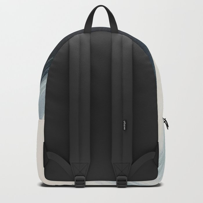 Like A Gentle Hurricane: a minimal, abstract piece in blues and white by Alyssa Hamilton Art Backpack