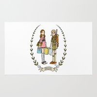 moonrise kingdom Area & Throw Rugs featuring Moonrise Kingdom  by Dueling Doodlers