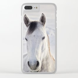 Rustic Winter Horse Clear iPhone Case