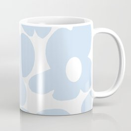 Large Baby Blue Retro Flowers White Background #decor #society6 #buyart Coffee Mug