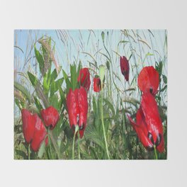 Landscape Close Up Poppies Against Morning Sky Throw Blanket