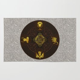 Ilvermorny Knot with House Shields Rug