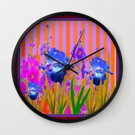 Contemporary Blue-Purple Iris Garden Violet Abstract Art Wall Clock