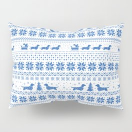 Love Joy Peace Wiener Dogs Blue Pattern Pillow Sham