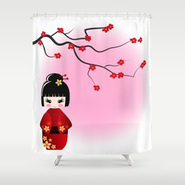 Japanese kokeshi doll at sakura blossoms Shower Curtain