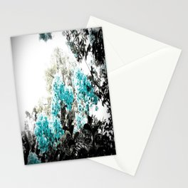 Turquoise & Gray Flowers Stationery Cards