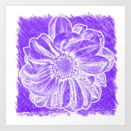White Flower On Purple Crayon Art Print