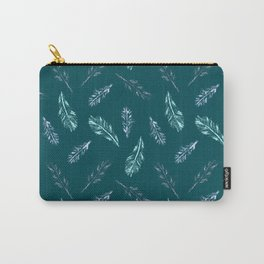 Pencil Feathers Pattern on Midnight Green Carry-All Pouch