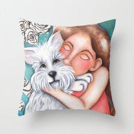 Sweet Coconut Original Art Schnauzer and girl Portrait Throw Pillow