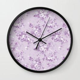 Elegant modern lavender lilac white floral Wall Clock