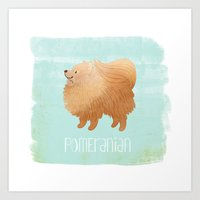 pomeranian Art Prints featuring Pomeranian by 52 Dogs