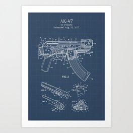 AK-47 blueprint Art Print