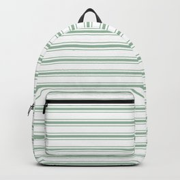 Moss Green and White Mattress Ticking Wide Striped Pattern Backpack