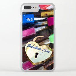 Love Locks on a stone bridge Clear iPhone Case