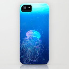 Glowing and sparkling blue jellyfish swimming in mystical deep blue ocean iPhone Case