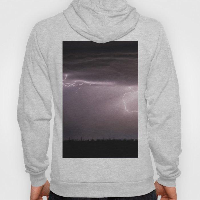 Summer Lightning Storm On The Prairie VI - Nature Landscape Hoody