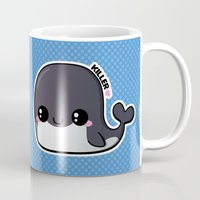 killer whale Mugs featuring Kawaii Killer Whale by Katie White