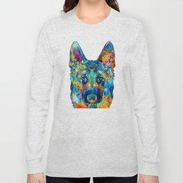 Colorful German Shepherd Dog Art By Sharon Cummings Long Sleeve T-shirt