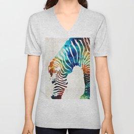 Colorful Zebra Art by Sharon Cummings Unisex V-Neck