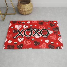 XOXO Valentine Pattern With Hearts Rug