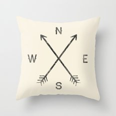 Compass (Natural) Throw Pillow