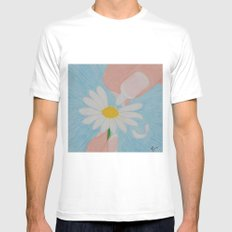 Loves Me...Loves Me Not Mens Fitted Tee MEDIUM White
