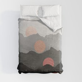 Mountains and the Moon - Black - Silver - Copper - Gold - Rose Gold Comforters