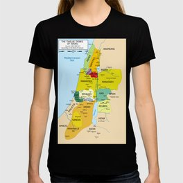 Map of Twelve Tribes of Israel from 1200 to 1050 According to Book of Joshua T-shirt