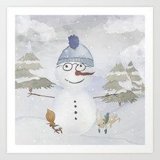 Winter Wonderland- Funny Snowman and friends - Watercolor illustration Art Print