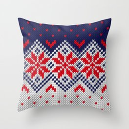 Winter knitted pattern 11 Throw Pillow