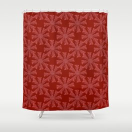 ice crystals on red background Shower Curtain