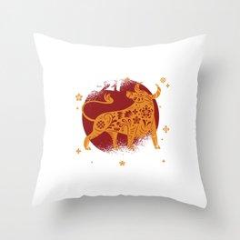 2021 Chinese Zodiac Ox Animal Throw Pillow