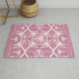 Pink Dragonfly Pattern Rug