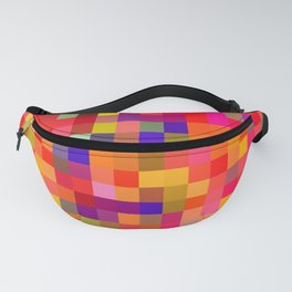 geometric square pixel pattern abstract in red pink yellow blue Fanny Pack