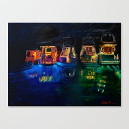 Boat Flotilla at Night at Octopus Island Canvas Print