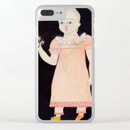 Baby in Pink Dress with Roses - Folk Art Clear iPhone Case