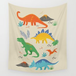 Jurassic Dinosaurs in Primary Colors Wall Tapestry