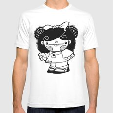 Mafalda Chestnut Girl Mens Fitted Tee MEDIUM White